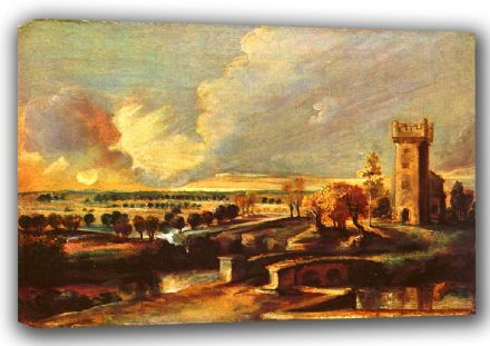 Rubens, Peter Paul: Landscape with the Tower of Castle Steen. Fine Art Canvas. Sizes: A4/A3/A2/A1 (001215)
